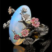 Women White Fire Opal Plum Flower Silver Ring Party Wedding Engagement Jewelry