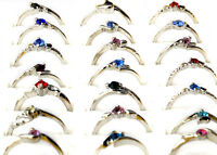 30Pcs Wholesale Lots Fashion Jewelry Crystal CZ Rhinestone Silver Plate Rings