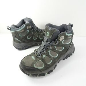 Merrell Granite Eggshell Blue Womens Size 8 Mid Suede Hiking Shoes Boots