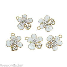 5PCs Charm Pendants Flower Gold Plated White Clear Rhinestone Enamel