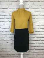 COS Yellow Grey Colour Block Smart Part Wool Slighty Sheer High Neck Dress UK 10