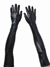 Women's Black Faux Leather Evening Party Cosplay Arm Hand Sleeve Long Gloves
