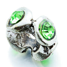5Pcs White Gold Crystal For Plated Silver Beads Green space European Bracelet