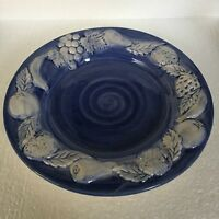 Vintage Casafina Hand-Painted Plate Majolica Fruit Blue and White 8-5/8 Portugal