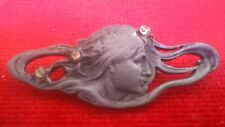 ART NOUVEAU PEWTER STRASS YOUNG LADY ANTIQUE BEAUTIFUL BROOCH