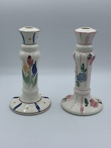 Ceramic Floral Pink Purple Blue Yellow Levine Candlestick Holder Set 2