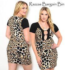 New Ladies Sexy Animal Print Dress Plus Size 16/3XL (9944)NP