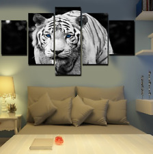 Wandbilder Set White Tiger blaue Augen Leinwand Gemälde 5x Bild Weiß Neu WoW Top