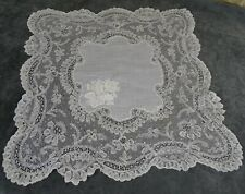 Antique French Large Hand Embroidered Brussels Bobbin Lace Handkerchief