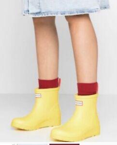 HUNTER Women's Original Play Short Wedge Heel Rain Boots Yellow  US 11 NEW