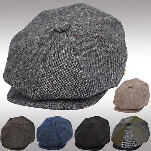 Men's Wool Herringbone Newsboy Cap Driving Cabbie Patchwork Tweed Applejack Hat