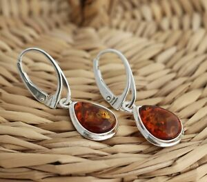 Cognac Baltic Amber 925 Sterling Silver Teardrop Dangle Drop Earrings Jewellery