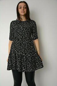 Womens Ex New Look Black + White Dash Print Tiered Smock Mini Dress Size 6-14