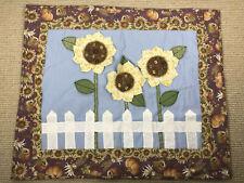 Sunflower Quilt Wallhanging Handmade Pumpkin Quilting Country Decor Farmhouse cu