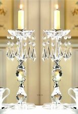 SET OF 2 GLITTERING CRYSTALS TAPER CANDLE HOLDERS Wedding Centerpieces NIB