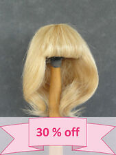 "30% Discount - Human Hair DOLL WIG size 7.1"" (18 cm) Straight blond -France"