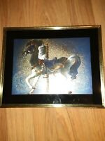 Vintage carousel horse Picture Framed Shiny