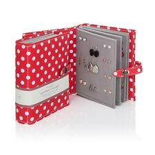 Large Little Book Of Earrings Red Polka Dots 4 Page Jewellery Box Book Xmas Gift