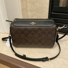 NWT  Authentic Coach F77879 Signature Bennett Crossbody Satchel, Brown/Black$250