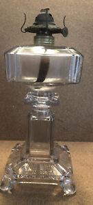 "Antique EAPG Clear Glass Kerosene Oil Lamp No 1 Burner Square Footed Base 10"""