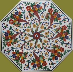 42 Inches Marble Reception Table Top Inlay with Multi Gemstones Art Dining table