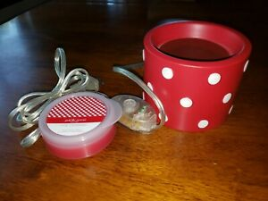 Rare Gold Canyon Red White Polka Dots Wax Scent Warmer And Pod Minnie Mouse