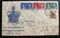 1937 Hong Kong First Day cover FDC Coronation Of king George VI KGVI To USA