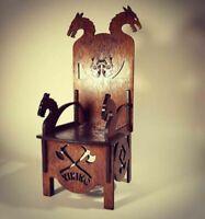 "Throne Viking Chair for Barbie FR BJD dolls 12"" 1/6 furniture wood OOAK DRAGON"