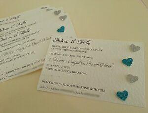 Personalised Wedding Invitations glitter love hearts many colours x50  *amount