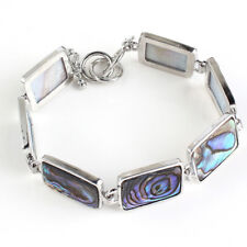 Rectangle Handmade Natural Rainbow Abalone shell Gemstone Silver Cham Bracelets