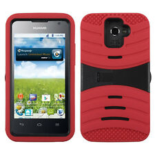 MetroPCS Huawei Premia M931 HYBRID Hard Gel Rubber KICKSTAND Case Cover Red Blk