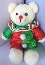 Vintage 1986 Dakin Clown White Bear Plush Stuffed Animal Red Green