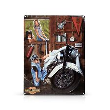 Harley-Davidson Metal Advertising Sign, 3 Little Girls Are Looking On A Harley