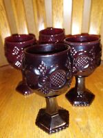 "VTG Avon 1876 Cape Cod Heavy Ruby Red Glass Wine Goblets 4 1/2"" set of 4"
