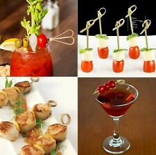 200 USA Bamboo Knot Skewer Twisted Cocktail Picks Party Fruit Drink Decor Kabob