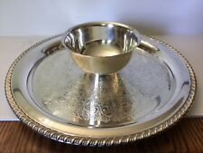 Wm. Rogers Silverplated SERVING PLATE with attached DIP BOWL