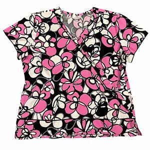 White Cross Womens Pink White Black Floral Print V-Neck Top Size 1X