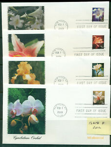2001 FDC Set of 4 - Scott# 3478-81 - Flowers  - Fleetwood Cachet