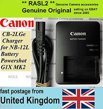 ORIGINALE Canon Caricabatterie cb-2lge nb-12l LEGRIA MINI X, PowerShot G1X MK II 2, N100