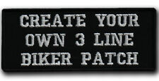 3 LINES Custom Embroidered Your Text Name Tag PATCH Biker HOOK&LOOP / IRON / SEW