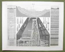 ARTESIAN WELLS Boring Tools Theory of Springs - 1844 SUPERB Print Engraving