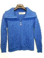 Aran Crafts Ireland M Blue Merino Wool Cardigan Sweater Zip Jacket Pockets Irish