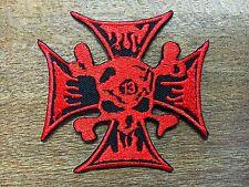 New Red Skull Lucky 13 Iron Cross Death Skull Totenkopf Skull Patch