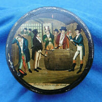 ANTIQUE 19th cen PAPIER MACHE CIRCULAR SNUFF BOX '' TAKING WINE IN THE WOOD  ''