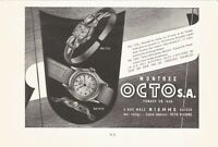 vintage 1949 print ad MONTRES OCTO Swiss Suisse watch movement MID CENTURY ART
