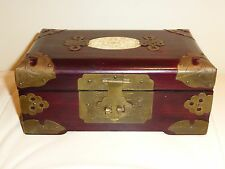 ANTIQUE JEWERLY BOX w/ CARVED INLAY AND ETCHED BRASS ACCENT