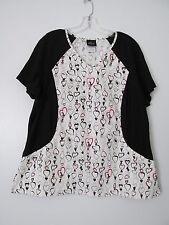 Baby Phat Black/White Heart Print Short Sleeve V-Neck Top w/ Pockets SIZE:XL
