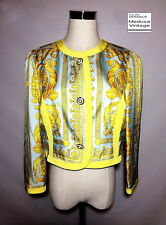 GIANNI VERSACE ISTANTE AUTH VINTAGE 96 PRINTED SILK JACKET BAROQUE CROWN ICONIC