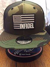 New Era NE400  Camouflage Snapback Hat/Cap W/ Black White INFIDEL American Flag