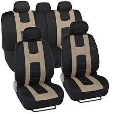 Beige on Black Striped Car Seat Covers Auto Interior Racing Sport Mesh Cloth